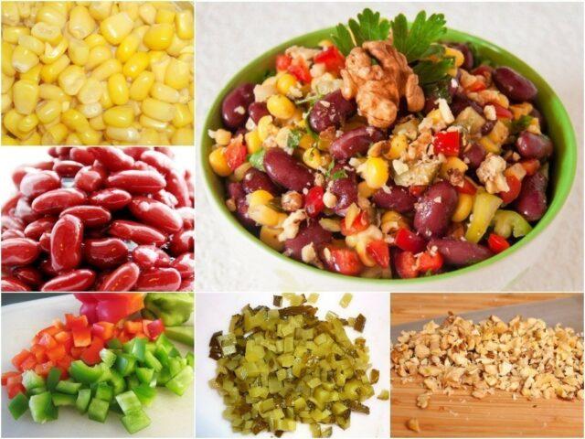 салат с фасолью, кукурузой и горчичной заправкой